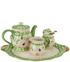 H207488 Temp-tations Gingham Garden Tea Set in Lime