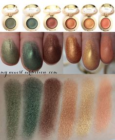 Swatches of Milani Bella Eyes Gel Powder Eyeshadows in Bella Khaki, Bella Emerald, Bella Bronze, Bella Copper, Bella Gold, and Bella Mandarin