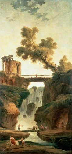 Hubert Robert - Landscape with Waterfall