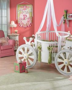 unusual baby bed | ... Themed Carriage Shaped Baby Crib with Cozy Round Bed and White Curtain