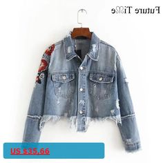 Future Time Women Jeans Jacket Flower Embroidered Ripped Short Jackets Autumn Tassel Punk Denim Jacket Short Coat Outwear WT007