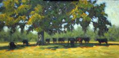 Shade Oak, oil painting by Cecile Morgan. Midday respite for any Alabama cow.