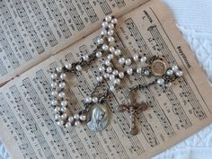 Antique French religious faux pearl beaded catholic rosary necklace w crucifix cross miraculous medals w Lourdes souvenir Holy virgin Mary