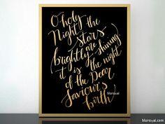 O holy night lyrics printable Christmas decor, in black and gold modern calligraphy #PrintableChristmasDecor #CarolLyrics #ChristmasPrintable #PrintableHolidayDecor #ModernCalligraphy #OHolyNight #InstantDownload #PrintableHolidayDecoration #GoldFoil