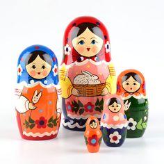 ~~   Matryoshka  ~  Babushka    ~~                     Colorful Nesting Doll with Bunny