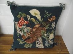 Charming Tapestry Cushion with a Musical and Floral Motif, Edged with Piping Cord and a Velvet Back. £25.00, via Etsy.