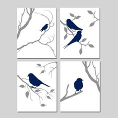 Bird Prints Bird Artwork Bird Decor Bird Wall Art Navy Bird Art Set of 4 Prints Nature Wall Art Bird Nursery Canvas, Diy Canvas Art, Canvas Artwork, Canvas Art Prints, Bird Wall Art, Bird Artwork, Wall Art Sets, Bird Bedroom, Bedroom Art