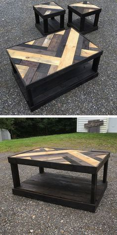 wooden pallet table with small stools #pallettable