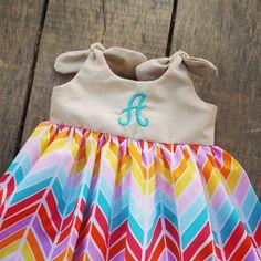 Rainbow dress, girls Monogrammed Dress, Bright broken chevron, sun dress, shelby jane, knot dress, coming home outfit, summer