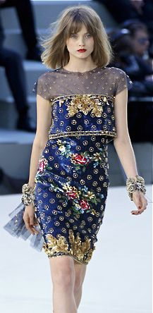 Chanel runway fashion blue dress