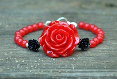 Red Rose Beaded Vintage Glam Bracelet by HoleInHerStocking on Etsy, $12.50