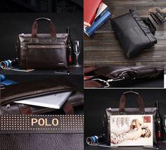 a22c7f1d8161 Kafayathouseoff Lates Men Polo Messenger Bag Briefcase Shoulder Bag Faux  Leather