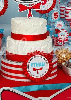 Dr. Seuss Birthday Party cake!  See more party planning ideas at CatchMyParty.com!