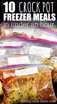 10 crock pot freezer meals in under an hour - French Onion Chicken, Smothered Pork Chops, French Dip Sandwiches