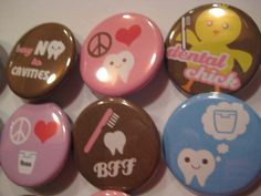 Dental Hygienist 20 Pin Back Button Party by PutOnYourPartyCap