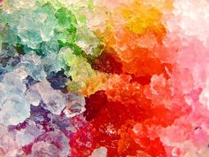 It's a rainbow cave! No, it's a close up of a snow cone, but it'd be awesome if it WAS a rainbow cave...
