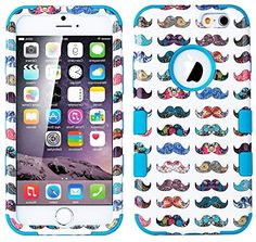 "myLife Sky Blue and Multi-Colored {3-piece Hipster Handlebar Mustache} Hybrid Armor Case for the NEW iPhone 6 (6G) 6th Generation Phone by Apple, 4.7"" Screen Version (Two External Snap On Hard Protector Plates + Full Body Internal Soft Silicone Bumper Gel Protection) myLife Brand Products http://www.amazon.com/dp/B00RKM27YI/ref=cm_sw_r_pi_dp_sw.Xub1J7N9Z3"
