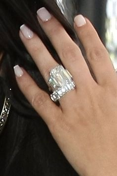 Bling: The bride showed off her diamond wedding band next to her enormous engagement ring (Kim Kardashian) Bling Bling, Diamond Wedding Bands, Diamond Rings, Wedding Rings, Wedding Nails, Wedding Set, Diamond Nails, Ring Ring, Kim Kardashian Wedding Ring