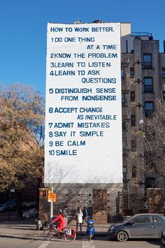 Peter Fischli David Weiss, How to Work Better, 1991. Presented by Public Art Fund. On view at Houston and Mott Streets, New York City, February–May 2016. Photo: Jason Wyche, courtesy Public Art Fund, NY