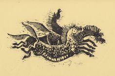 Horses. Linocut. Format A4