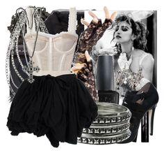 """""""80s Madonna"""" by jules181 ❤ liked on Polyvore featuring Urban Decay, Moschino, Laura Mercier, Madonna, Guerlain, Forever 21, OPI, shu uemura and Dolce&Gabbana"""
