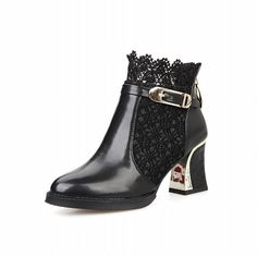 Carolbar Women's Elegance Fashion Charms Sexy Buckle Zipper Lace Mid Heel Dress Boots *** You can get more details by clicking on the image.