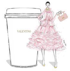 Valentino designer coffee illustration by Megan Hess Megan Hess Illustration, Fashion Illustration Sketches, Fashion Sketches, Coffee Illustration, Coffee Art, My Coffee, Coffee Today, Monday Coffee, Fashion Prints