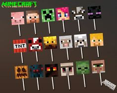 20 Minecraft Cupcake Toppers! Minecraft Birthday Party Invitations - Decorations