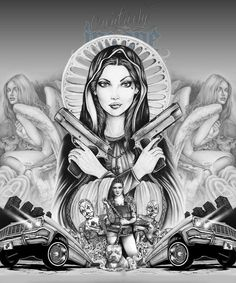 Watch over me! Chicano Art Tattoos, Chicano Drawings, Gangster Tattoos, Skull Tattoos, Lowrider Tattoo, Arte Lowrider, Tattoo Design Drawings, Art Drawings, Aztec Pictures