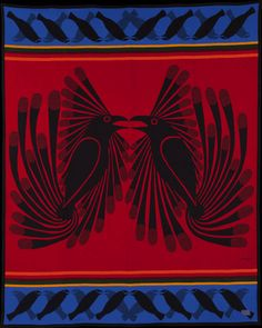 Medium: Pendleton (woven wool blanket). Size: 80 x 64 inches. 82% pure wool, 18% cotton (warp) woven by Pendleton Woolen Mills Spirit Wrestler Gallery is very pleased to announce the special release of the Arctic Ravens Pendleton blanket. The release is timed to commemorate the 50th anniversary celebrations for the Cape Dorset Annual Print Collection (1959-2009), with the image drawn by the legendary Canadian Inuit artist, Kenojuak Ashevak of Cape Dorset.