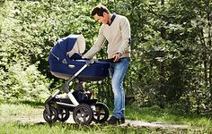 High carry cot and seat position to encourage eye contact and connection.     Stokke® Trailz™ The versatile All Terrain stroller.