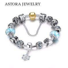 DIY Making Crystal Bracelets & Bangles Beautiful Design Snowflake Charm European Bead Jewelry Gifts