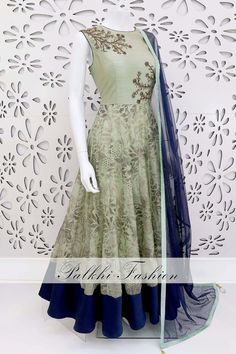 PalkhiFashion Exclusive Full Flair Pale Green Outfit with Elegant Foil Work.