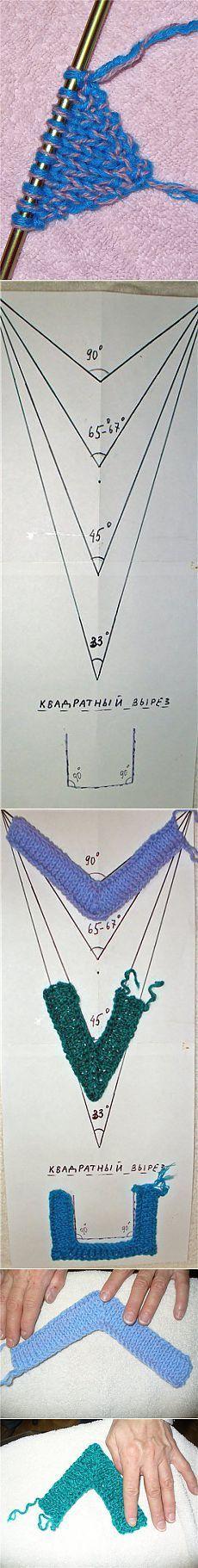 Выполнение различных углов спицами.