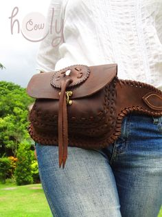 Beautiful brown leather crazy horse belt bag by HolyCowproducts, $145.00