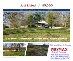 Great new listing.  This 1.51 acre lot is unrestricted.  Former house was destroyed in a fire.  The carport and brick utility room remain.  Private well, septic installed.  Great views.  Level to rolling.  Call us today!