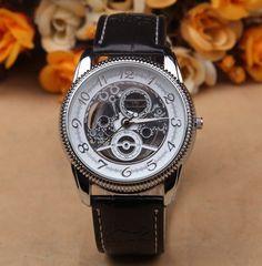 Hot Sale Classic Retro Gold Silver Skeleton Watch Leather Band Big Dial Men Women Girl Boy Luxury Wristwatch