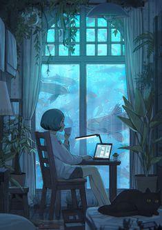 e-shuushuu kawaii and moe anime image board Pretty Art, Cute Art, Pretty Fish, Bel Art, Anime Scenery, Animes Wallpapers, Girl Short Hair, Girl Hair, Character Drawing