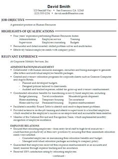 sample resume for someone seeking a job as a generalist in human resources