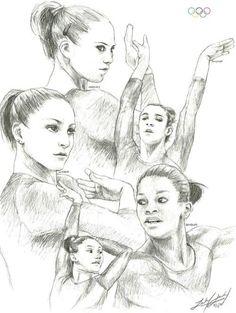 I do love the Olympics. My favorite sport by far is Artistic Gymnastics. It's just so beautifu. London The Fab Five Artistic Gymnastics, Gymnastics Stuff, Bae, Fab Five, Jordyn Wieber, Art Folder, Cool Art Drawings, Large Art, Photo Art
