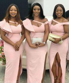 Pink Mermaid Bridesmaid Dresses for Wedding Party – NYDress African Bridesmaid Dresses, African Lace Dresses, Mermaid Bridesmaid Dresses, Latest African Fashion Dresses, African Dresses For Women, African Print Fashion, Wedding Dresses, Wedding Hijab, Wedding Attire