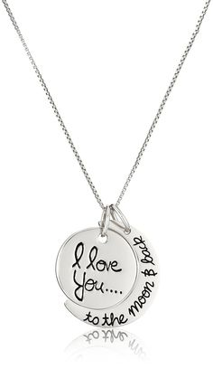 Sterling Silver 'I Love You To The Moon and Back' Pendant Necklace, 18' *** Check out the image by visiting the link.