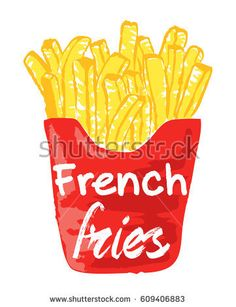 French Fries sticker. Vector illustration in watercolor style, for graphic and web design