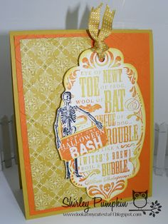 Halloween Bash, Toil and Trouble Card stamp sets from Stampin up. look at my cute stuff, cute stuff by Shirley Pumpkin #lookatmycutestuff #stampinup #Halloweencard