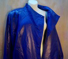 68f3d80b17f VINTAGE LEATHER JACKET Blue Purple color by blingblingfling on Etsy  https   www. Plus Size ...