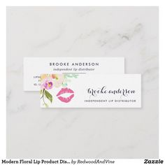 Shop Modern Floral Lip Product Distributor Mini Business Card created by RedwoodAndVine. Business Cards Layout, Gold Business Card, Letterpress Business Cards, Free Business Card Templates, Free Business Cards, Business Card Design, Creative Business, Watercolor Business Cards, Mini