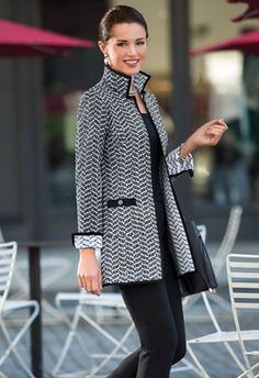 A line of clothing designed by a woman with fashion and business expertise, for smart, confident women on the go. Fashion Line, Work Fashion, Hijab Fashion, Fashion Dresses, Iranian Women Fashion, Womens Fashion, Fashion Trends, Black And White Coat, Winter Outfits