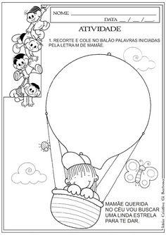 Atividade Dia das Mães - Recorte e Colagem Letra Inicial