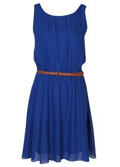 Blue Sleeveless Belt Pleated Dress