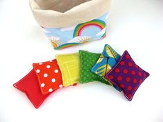 Rainbow Beanbag and Toss/Storage Basket Set  Made to by Violet, $20.00